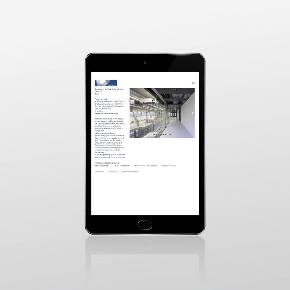 Klaus Schindhelm / Referenzen / Faktorlicht - Website