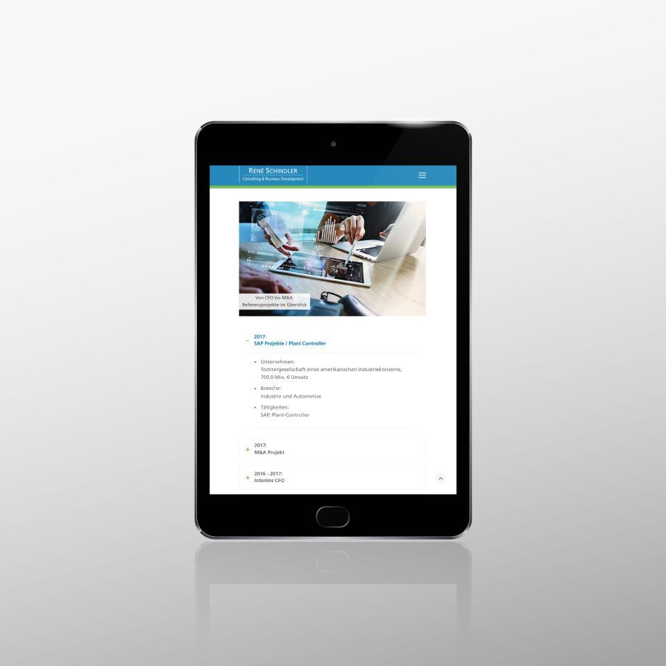 Klaus Schindhelm / Referenzen / Schindler Consulting - Website - Referenzprojekte