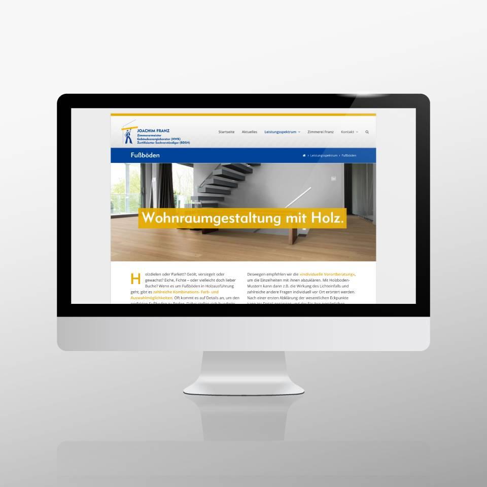 Klaus Schindhelm / Referenzen / Zimmerei Franz - Website - Fußböden