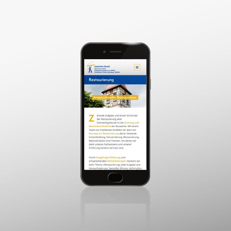 Klaus Schindhelm / Referenzen / Zimmerei Franz - Website - Restaurierung