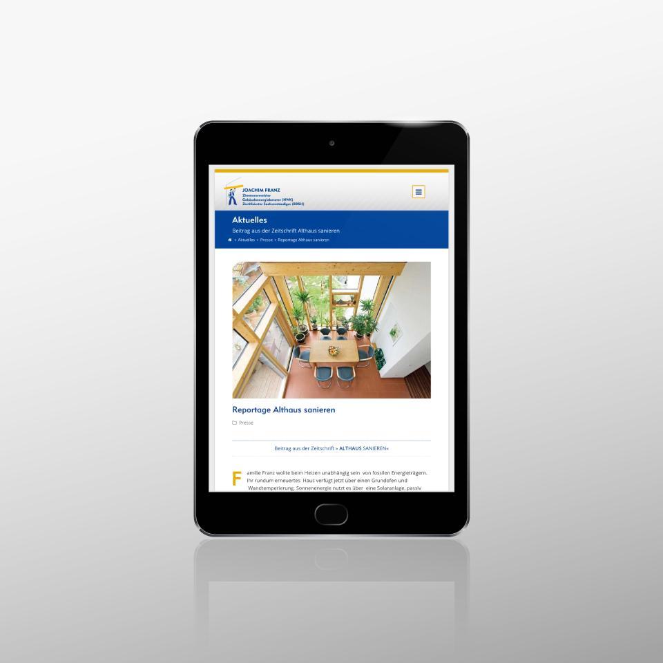 Klaus Schindhelm / Referenzen / Zimmerei Franz - Website - Blogbeitrag